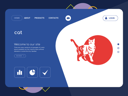 Quality One Page cat Website Template Vector Eps, Modern Web Design with flat UI elements and landscape illustration, ideal for landing page Ilustração