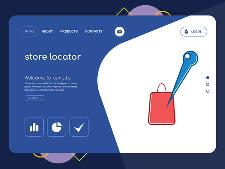 Quality One Page store locator Website Template Vector Eps, Modern Web Design with flat UI elements and landscape illustration, ideal for landing page