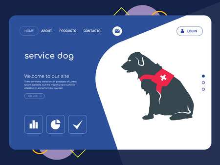 Quality One Page service dog Website Template Vector Eps, Modern Web Design with flat UI elements and landscape illustration, ideal for landing page Illustration