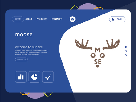 Quality One Page moose Website Template Vector Eps, Modern Web Design with flat UI elements and landscape illustration, ideal for landing page