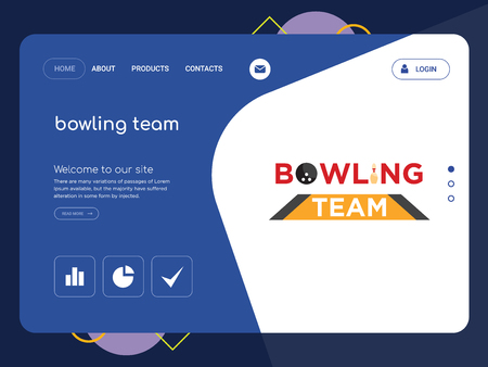 Quality One Page bowling team Website Template Vector Eps, Modern Web Design with flat UI elements and landscape illustration, ideal for landing page Illustration