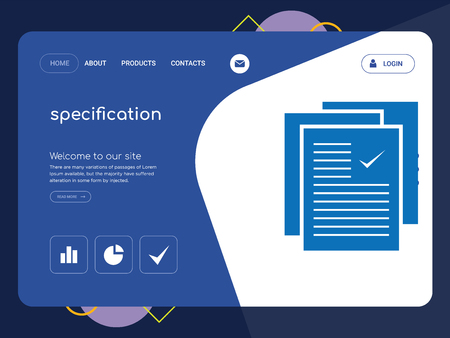 Quality One Page specification Website Template Vector Eps, Modern Web Design with flat UI elements and landscape illustration, ideal for landing page