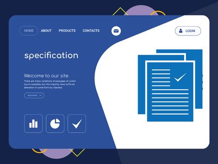 Especificación de una página de calidad, Eps vectoriales de plantilla de sitio web Diseño Web moderno con elementos de la IU plana y horizontal, ideal para la ilustración de la página de aterrizaje
