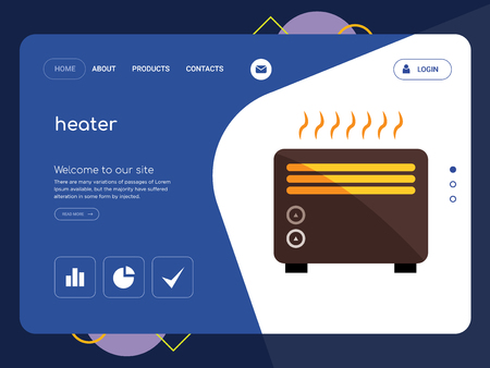 Quality One Page heater Website Template Vector Eps, Modern Web Design with flat UI elements and landscape illustration, ideal for landing page Ilustracja
