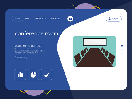 Quality One Page conference room Website Template Vector Eps, Modern Web Design with flat UI elements and landscape illustration, ideal for landing page