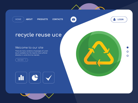 Quality One Page recycle reuse uce Website Template Vector Eps, Modern Web Design with flat UI elements and landscape illustration, ideal for landing page