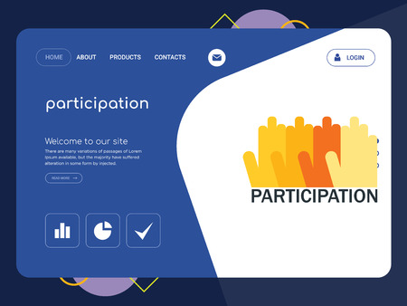 Quality One Page participation Website Template Vector Eps, Modern Web Design with flat UI elements and landscape illustration, ideal for landing page