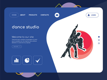 Quality One Page dance studio Website Template Vector Eps, Modern Web Design with flat UI elements and landscape illustration, ideal for landing page
