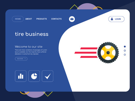 Quality One Page tire business Website Template Vector Eps, Modern Web Design with flat UI elements and landscape illustration, ideal for landing page  イラスト・ベクター素材