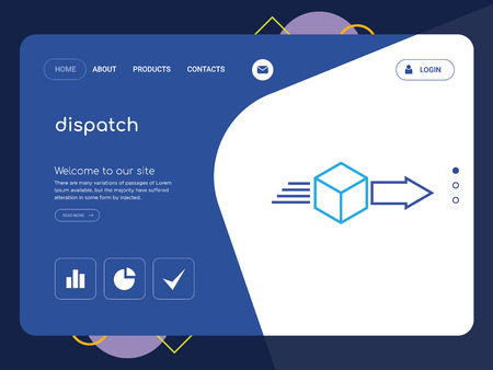 Quality One Page dispatch Website Template Vector Eps, Modern Web Design with flat UI elements and landscape illustration, ideal for landing page