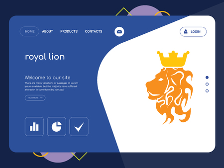 Quality One Page royal lion Website Template Vector Eps, Modern Web Design with flat UI elements and landscape illustration, ideal for landing page