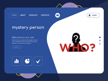 Quality One Page mystery person Website Template Vector Eps, Modern Web Design with flat UI elements and landscape illustration, ideal for landing page