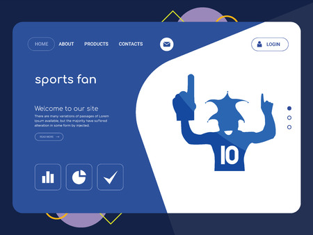 Quality One Page sports fan Website Template Vector Eps, Modern Web Design with flat UI elements and landscape illustration, ideal for landing page