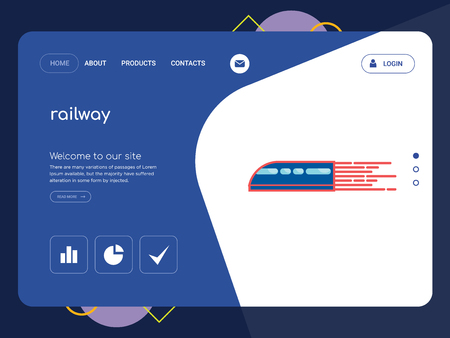 Quality One Page railway Website Template Vector Eps, Modern Web Design with flat UI elements and landscape illustration, ideal for landing page