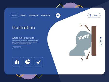 Quality One Page frustration Website Template Vector Eps, Modern Web Design with flat UI elements and landscape illustration, ideal for landing page