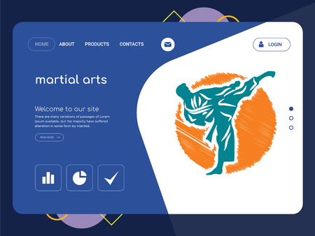 Quality One Page martial arts Website Template Vector Eps, Modern Web Design with flat UI elements and landscape illustration, ideal for landing page