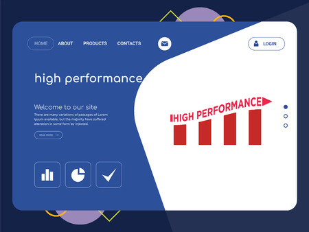 Quality One Page high performance Website Template Vector Eps, Modern Web Design with flat UI elements and landscape illustration, ideal for landing page
