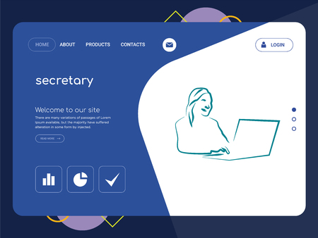 Quality One Page secretary Website Template Vector Eps, Modern Web Design with flat UI elements and landscape illustration, ideal for landing page