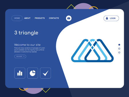 Quality One Page 3 triangle Website Template Vector Eps, Modern Web Design with flat UI elements and landscape illustration, ideal for landing page
