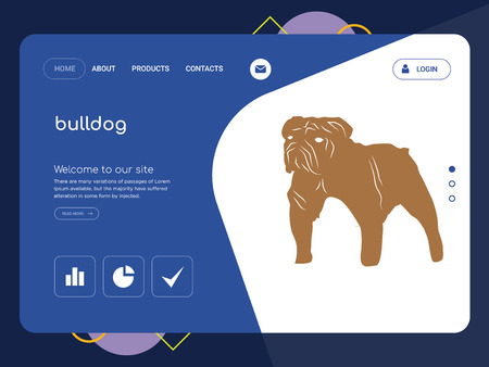 Quality One Page bulldog Website Template Vector Eps, Modern Web Design with flat UI elements and landscape illustration, ideal for landing page