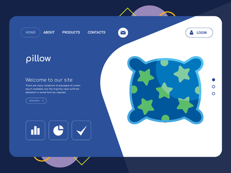 Quality One Page pillow Website Template Vector Eps, Modern Web Design with flat UI elements and landscape illustration, ideal for landing page