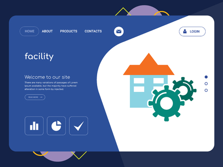 Quality One Page facility Website Template Vector Eps, Modern Web Design with flat UI elements and landscape illustration, ideal for landing page
