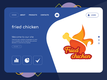 Quality One Page fried chicken Website Template Vector Eps, Modern Web Design with flat UI elements and landscape illustration, ideal for landing page
