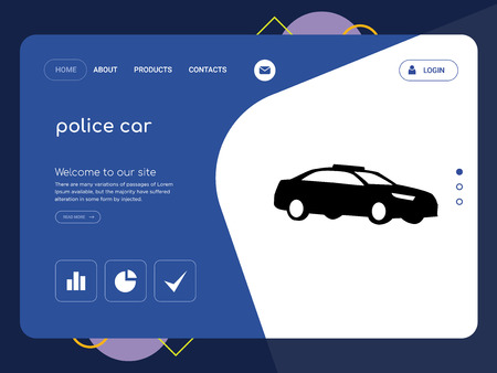 Quality One Page police car Website Template Vector Eps, Modern Web Design with flat UI elements and landscape illustration, ideal for landing page