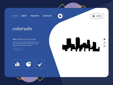 Quality One Page colorado Website Template Vector Eps, Modern Web Design with flat UI elements and landscape illustration, ideal for landing page