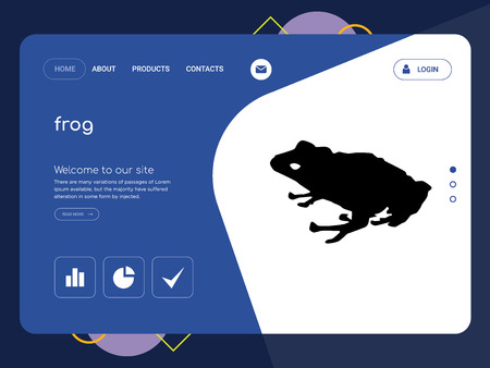 Quality One Page frog Website Template Vector Eps, Modern Web Design with flat UI elements and landscape illustration, ideal for landing page  イラスト・ベクター素材