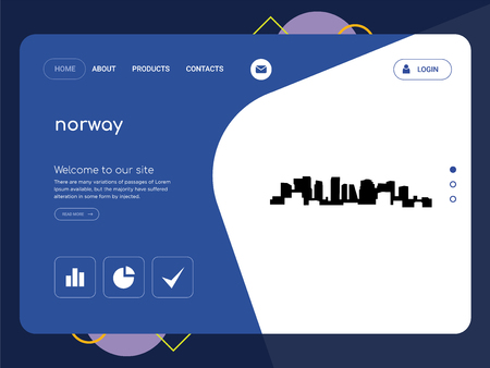 Quality One Page norway Website Template Vector Eps, Modern Web Design with flat UI elements and landscape illustration, ideal for landing page