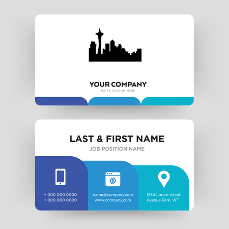 seattle, business card design template, Visiting for your company, Modern Creative and Clean identity Card Vector