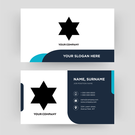 star of david, business card design template, Visiting for your company, Modern Creative and Clean identity Card Vector