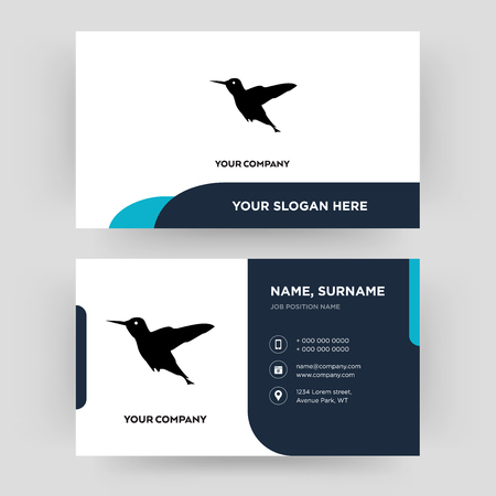 hummingbird, business card design template, Visiting for your company, Modern Creative and Clean identity Card Vector