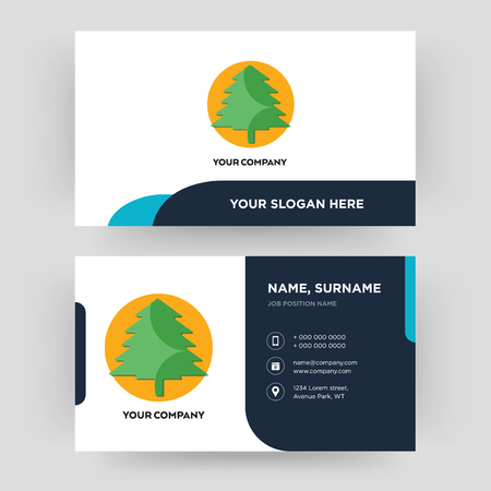 pinetree, business card design template, Visiting for your company, Modern Creative and Clean identity Card Vector Vector Illustration