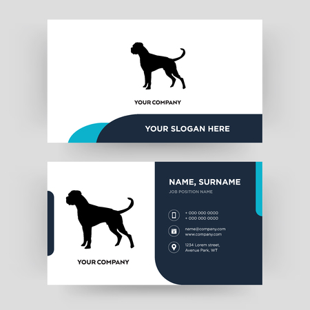 pies bokser, szablon projektu wizytówki, wizyta w Twojej firmie, nowoczesna kreatywna i czysta karta tożsamości Vector