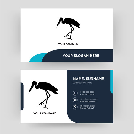 stork, business card design template, Visiting for your company, Modern Creative and Clean identity Card Vector