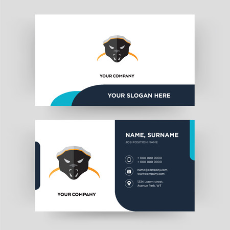 honey badger, business card design template, Visiting for your company, Modern Creative and Clean identity Card Vector