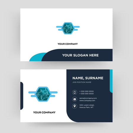 semi truck, business card design template, Visiting for your company, Modern Creative and Clean identity Card Vector