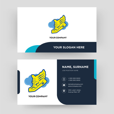 shoe with wings, business card design template, Visiting for your company, Modern Creative and Clean identity Card Vector Illustration