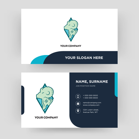 rams, business card design template, Visiting for your company, Modern Creative and Clean identity Card Vector