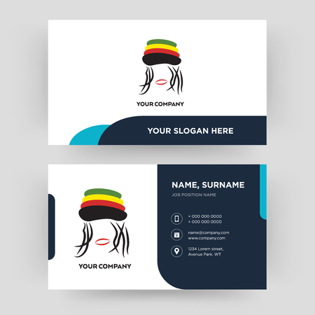 rastaman, business card design template, Visiting for your company, Modern Creative and Clean identity Card Vector