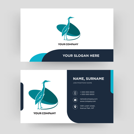 heron, business card design template, Visiting for your company, Modern Creative and Clean identity Card Vector