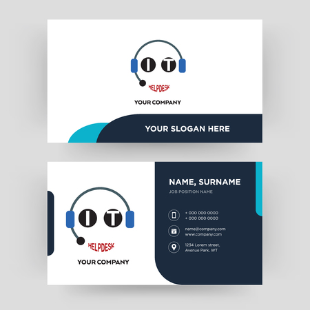 it helpdesk, business card design template, Visiting for your company, Modern Creative and Clean identity Card Vector Illustration