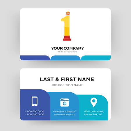 no.1, business card design template, Visiting for your company, Modern Creative and Clean identity Card Vector