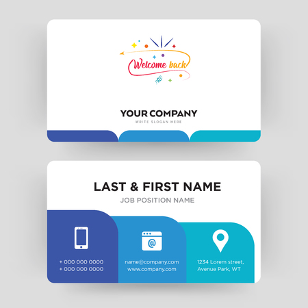 welcome back, business card design template, Visiting for your company, Modern Creative and Clean identity Card Vector Illustration