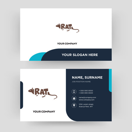 rat, business card design template, Visiting for your company, Modern Creative and Clean identity Card Vector Ilustração