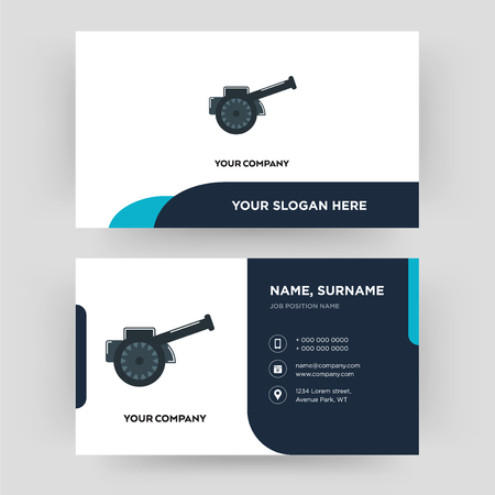 cannon, business card design template, Visiting for your company, Modern Creative and Clean identity Card Vector Foto de archivo - 102402596