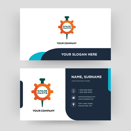 spare parts, business card design template, Visiting for your company, Modern Creative and Clean identity Card Vector