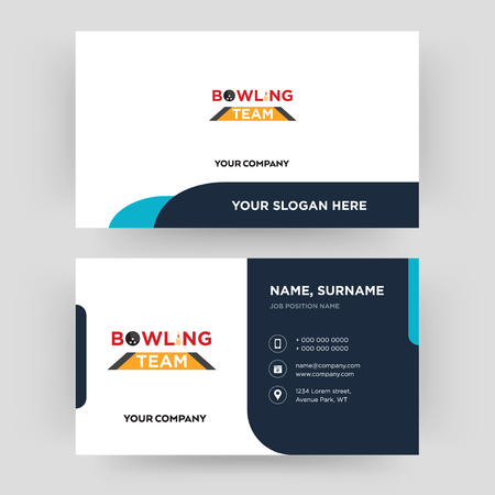 bowling team, business card design template, Visiting for your company, Modern Creative and Clean identity Card Vector Illustration